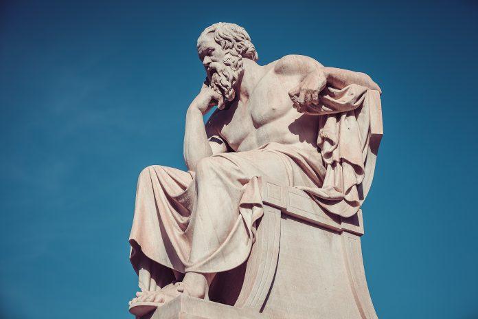 Statue de Socrate en penseur Grec