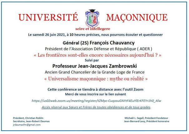Université Maçonnique Gal Chauvancy conf. 210626