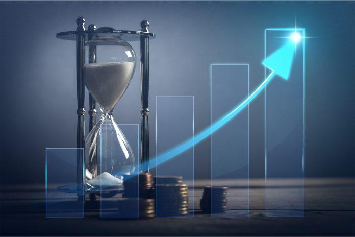 Sablier avec courbe qui symbolise l'argent