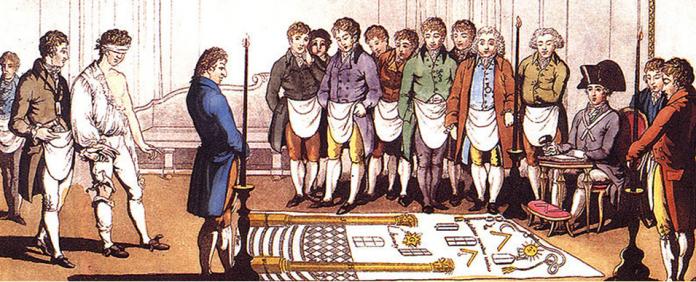réception apprenti, tablier, chapeau, tapis de loge 1er degré, ni nu ni vêtu, bandeau, costumes 19ème, Vénérable