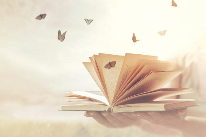 Pages de livre avec des papillons